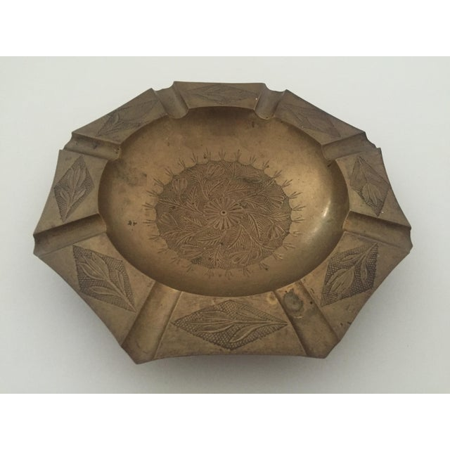 Vintage Mid Century India Brass Octagonal Etched Design Ashtray For Sale - Image 4 of 10