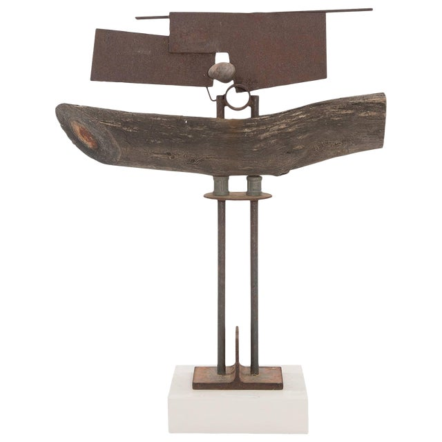Wood Patinated Steel and Stone Sculpture by Rick Lussier For Sale
