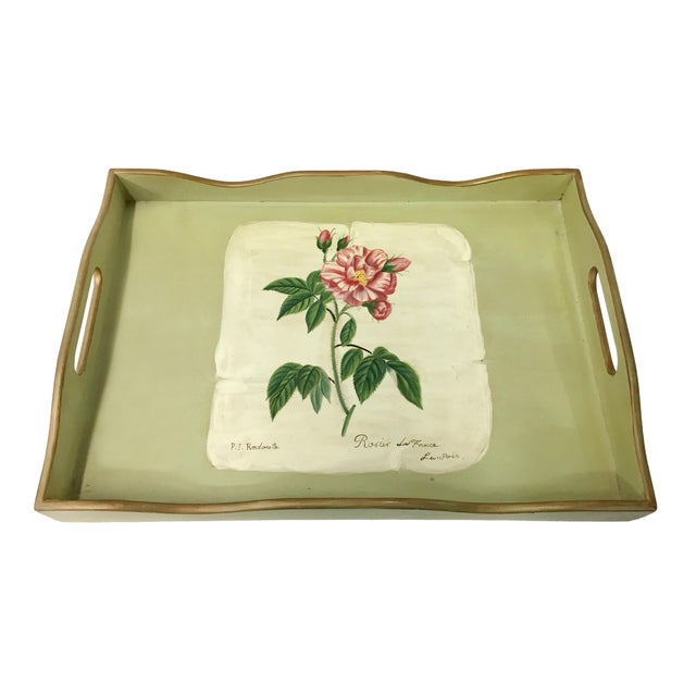 Vintage rectangular wooden tray green w ith hand painted faux floral design on paper.