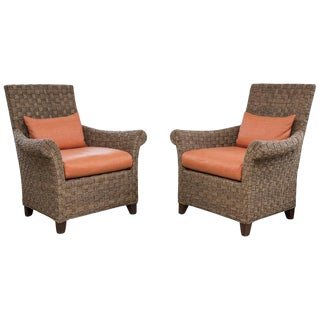 Rafia Orange Upholstered Armchairs - a Pair For Sale