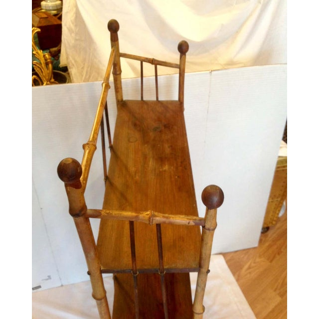 Brown 19th Century English Bamboo Bookstand / Étagère For Sale - Image 8 of 13