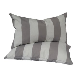 Gray & White Striped Indoor/Outdoor Pillows - a Pair