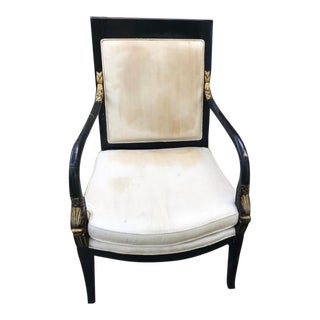 Vintage Mid Century Modern Cream Upholstered Black Lacquer Chair For Sale