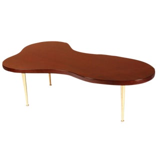 T.H.Robsjohn-Gibbings for Widdicomb Biomorphic Walnut Brass Cocktail Table For Sale