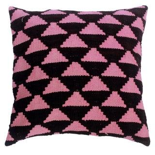 "Dena Black/Pink Hand-Woven Kilim Throw Pillow(18""x18"") For Sale"
