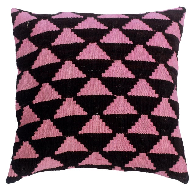 "Dena Black/Pink Hand-Woven Kilim Throw Pillow(18""x18"") For Sale"