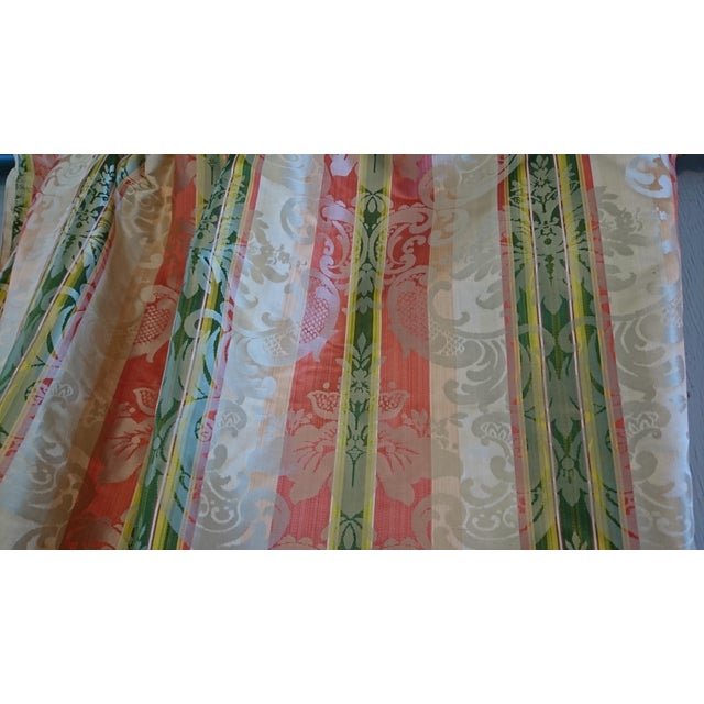 French Scalamandre Tarantella Orange and Green Stripe Silk Fabric - 67 Yards For Sale - Image 3 of 4