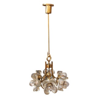 Modern Floral Brass and Glass Pendant Light