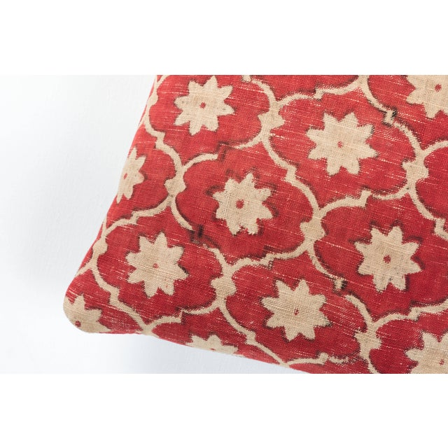 Floral and trellis design hand painted and block printed on coarse hand woven cotton. Gujarat, India. Natural linen back....