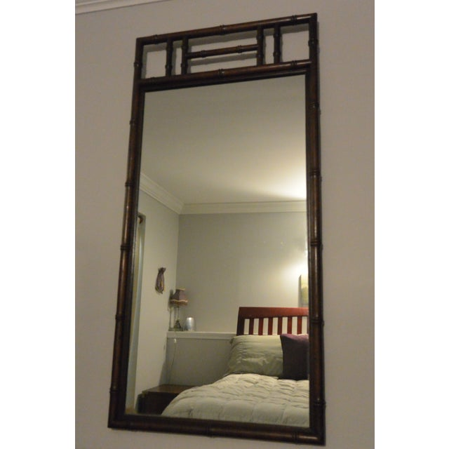 Mid-Century Modern Henredon Bamboo Style Mirror For Sale - Image 3 of 3