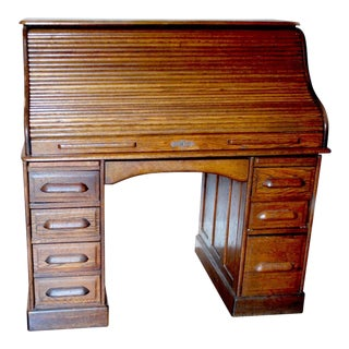 1900s English Traditional Roll Top Desk For Sale