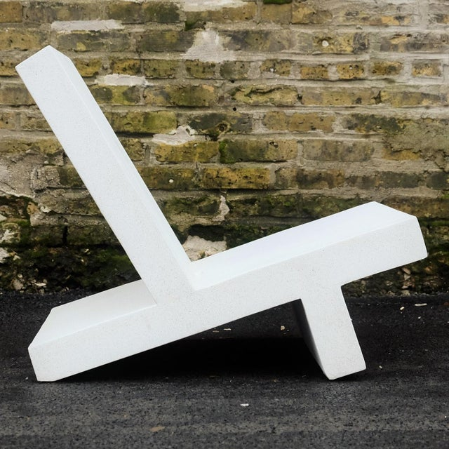 Contemporary Zachary A. Design White Finish Cast Resin 'Wavebreaker' Lounge Chair For Sale - Image 3 of 7