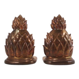 Mid Century Solid Brass Pineapple Bookends ~ a Pair For Sale