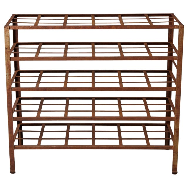 Industrial 5 Tier Shelf With Grid Shelves for Books or Usage as Seedling Planter For Sale