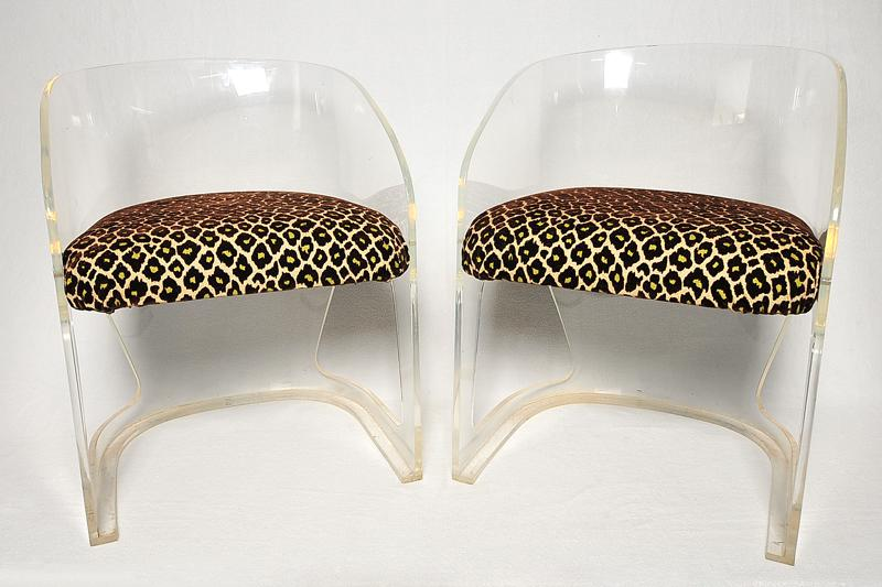 Vladimir Kagan Lotus Lucite Chairs Faux Leopard Fabric   A Pair   Image 2  Of 8