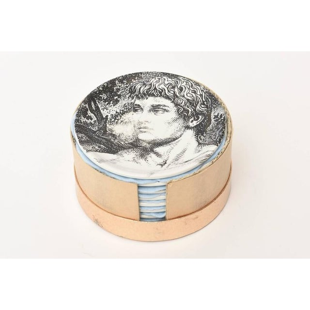 Gray Mid-century Piero Fornasetti Porcelain Coasters Adam or Bareware - Set of 8 For Sale - Image 8 of 10