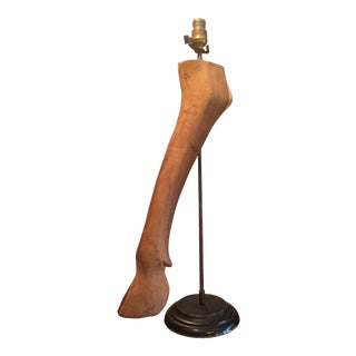 Vintage Carved Wood Hoof Lamp For Sale
