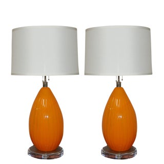 Vintage Murano Glass Table Lamps in Orange For Sale