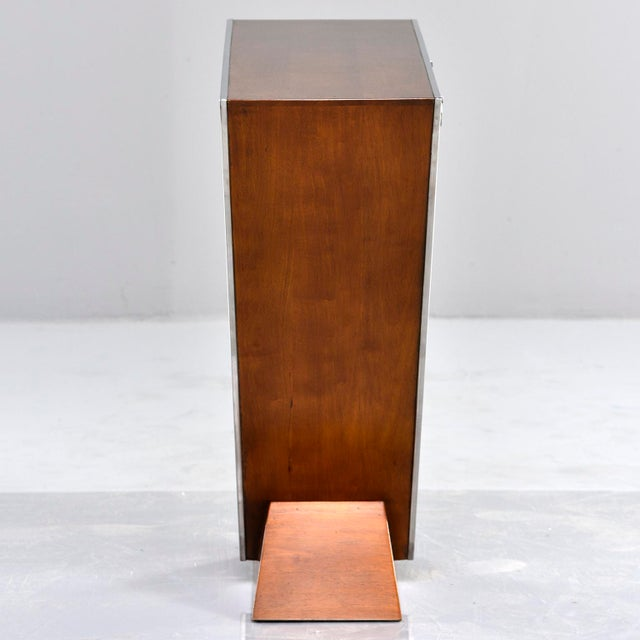 Brazilian Teak and Chrome Console With Triangular Base For Sale - Image 9 of 13
