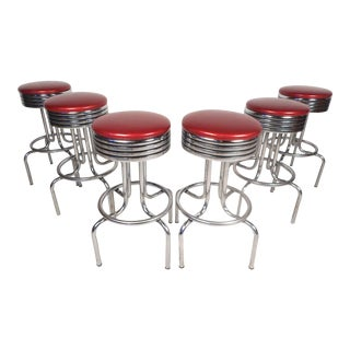Midcentury Swiveling Stools, Set of 6 For Sale