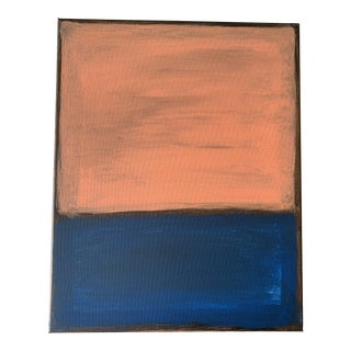Vintage Original Abstract Expressionist Painting in Coral Pink / Indigo Blue by Ives Nørregaard Aft Mark Rothko For Sale