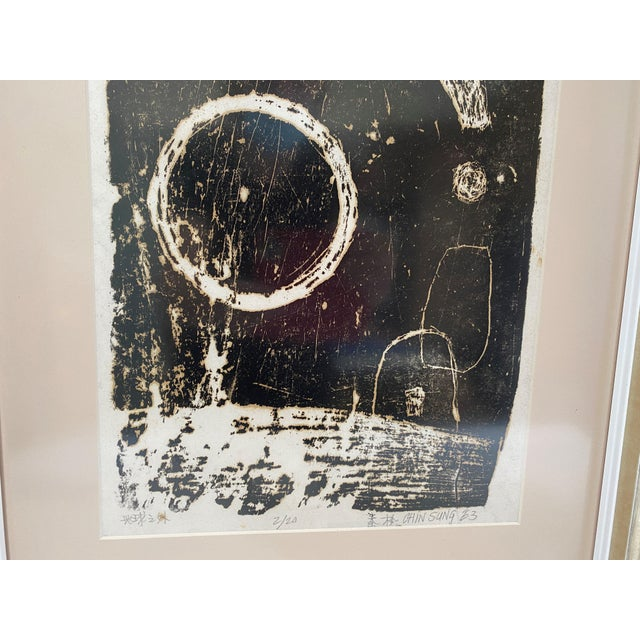 """Mid-Century Modern Space Age Wood-Block Print """"Away From the Earth"""" 2/20 by Chin Sung For Sale - Image 4 of 13"""