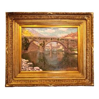 """Antique Belgian Oil on Canvas by Impressionist Painter Paul Leduc (1876-1943), """"Le Pont Vieux,"""" in Sospel, France. For Sale"""