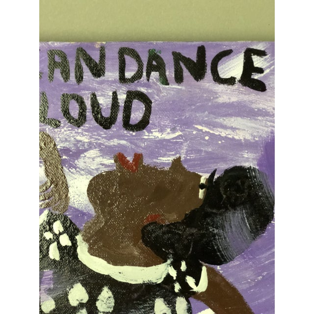 Fun Folk Art painting of a woman in a black and white floral jumpsuit with matching purse dancing in a purple cloud. The...