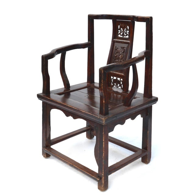 Antique Chinese Wood Carved Chair - Image 2 of 8