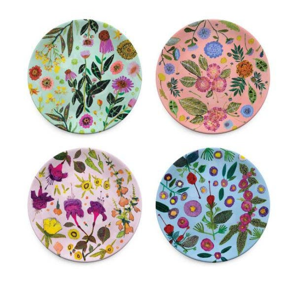 Kenneth Ludwig Chicago Wildflowers Plates - Set of 4 For Sale In Chicago - Image 6 of 6