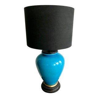 Large Vintage Turquoise Table Lamp For Sale