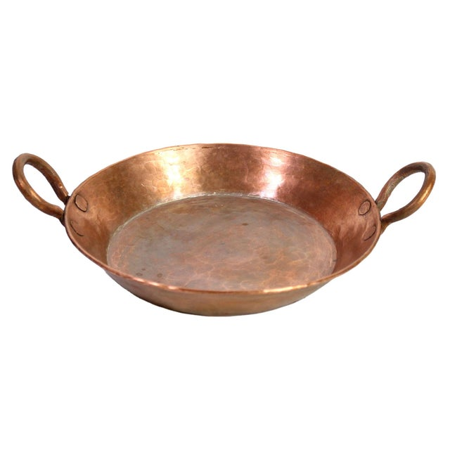 Metal Antique 19th Century French Handmade Hammered Copper Double Handled Pan For Sale - Image 7 of 7