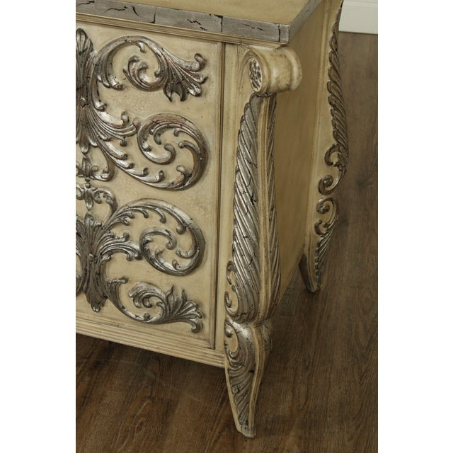 Rococo Style Custom Silver Leaf Foliage 2 Door Commodes Servers - a Pair For Sale - Image 10 of 12