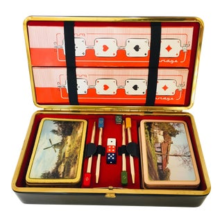 Vintage Playing Cards in Leather Box French Bridge - Set of 2 Decks For Sale