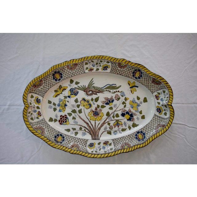 Blue Faience Yellow and Blue Floral Design With Bird Platter For Sale - Image 8 of 8