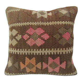 Vintage Handmade Brown and Pink Turkish Kilim Pillow Cover For Sale