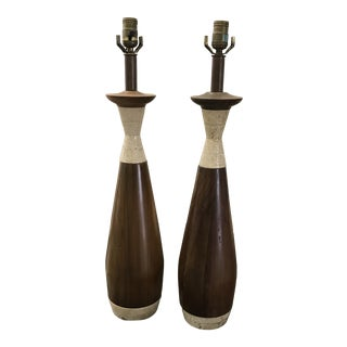 1970s Wood and Travertine Lamps - a Pair For Sale