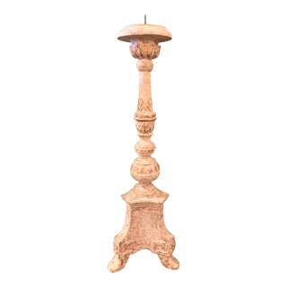Antiqued French White and Gold Altar Candlestick by Bliss Studio For Sale