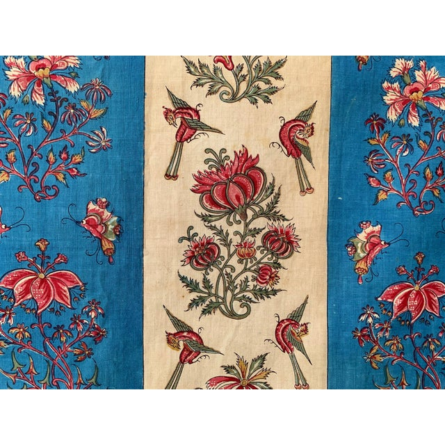 """Antique French Fabric Floral And Stripe Indienne Fabric - 25.5x65.75"""" For Sale - Image 11 of 11"""