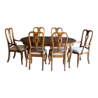 1990s French Country Ethan Allen Birch Dining Set - 7 Piece Set