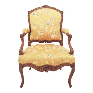 Louis XV Period Walnut and Upholstered Fauteuil For Sale