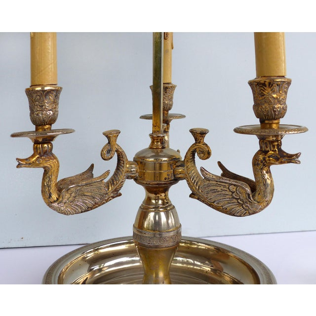 19th Century Silvered Bronze Bouillotte Three-Arm Lamp w/ Stenciled Tole Shade For Sale - Image 4 of 10