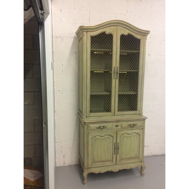 1960s French Provincial Stepback Cupboard With Wire Mesh For Sale In West Palm - Image 6 of 8
