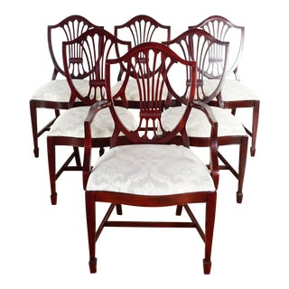1930s Mahogany Chairs With Damask Upholstery - Set of 6 For Sale