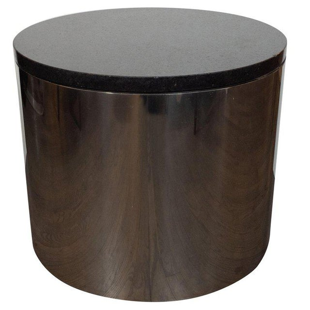 Mid-Century Modern Cylindrical Drum Form Chrome and Granite Occasional Table For Sale - Image 9 of 9