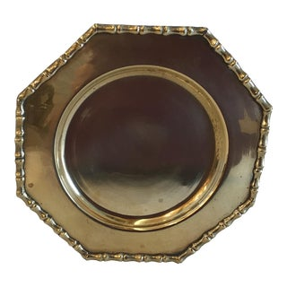 Vintage Faux Bamboo Edge Brass Plate For Sale