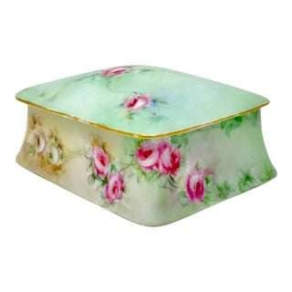Victorian Bavarian Hand Painted Porcelain Lidded Box For Sale