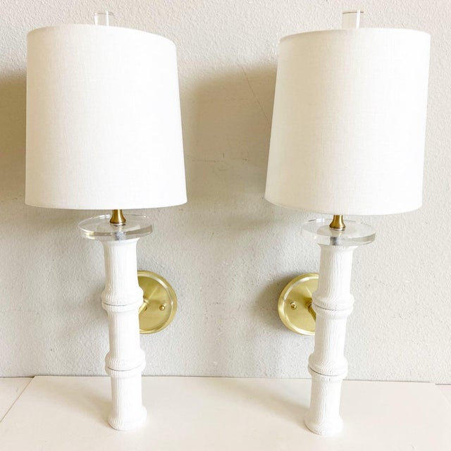 Bamboo-Style Sconces & Shades - a Pair For Sale - Image 11 of 11