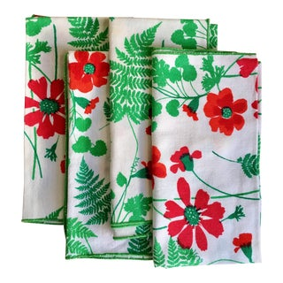 Vintage Vera Floral Cotton Napkins With Ferns- Set of Four