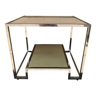 1980s Vintage Goatskin Parchment & Chrome Table For Sale